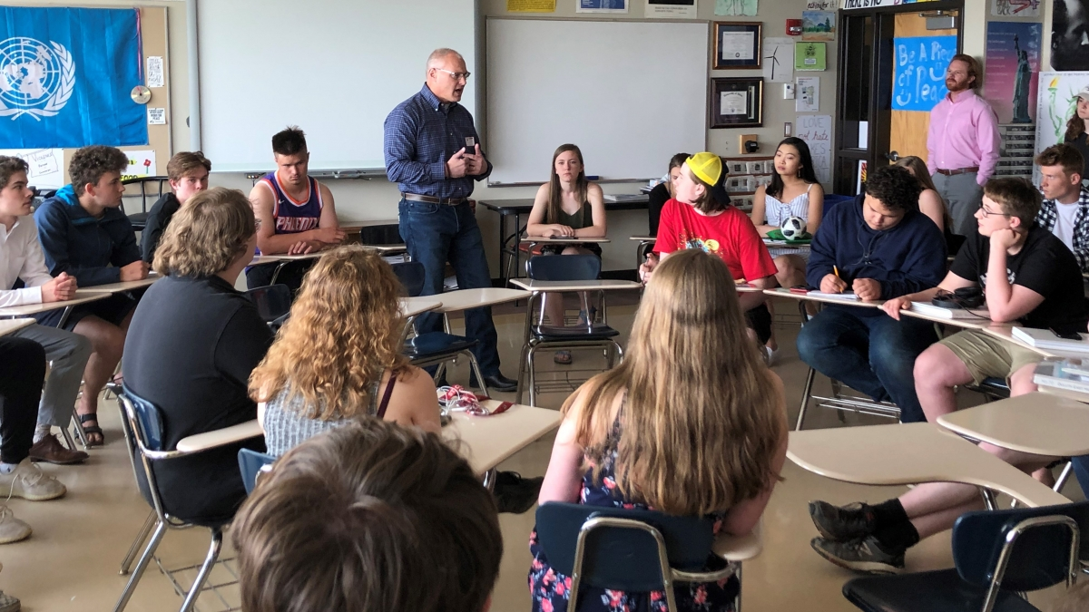 Congressman Stauber in a classroom with students